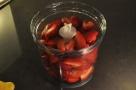 Strawberries prepared for blending