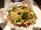 Quinoa with Wild Mushrooms, Wax Beans & Brocolli en Papillote